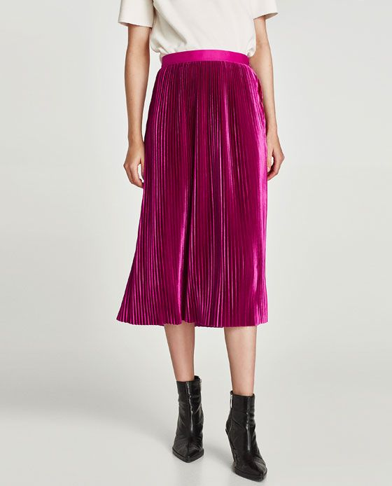 Image 3 of PLEATED VELVET MIDI SKIRT from Zara