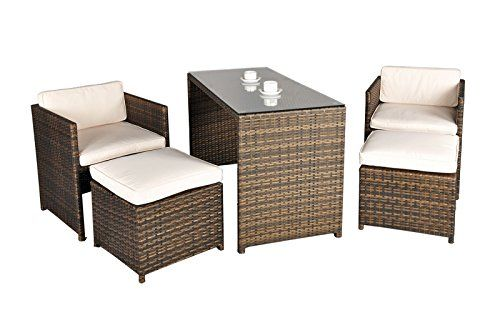 Balcony Rattan Garden Furniture 4 Seat Rectangular Glass