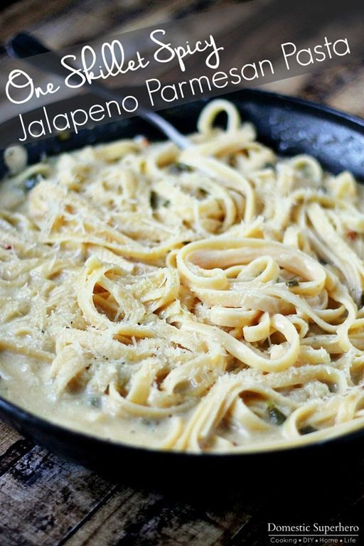 OOne Skillet Spicy Jalapeno Parmesan Pasta is the perfect one skillet dinner - no mess, super delicious, and easy to make!