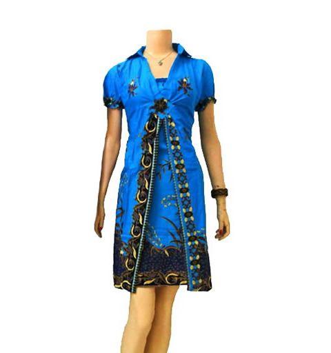 dress batik cantik dan modern warna biru