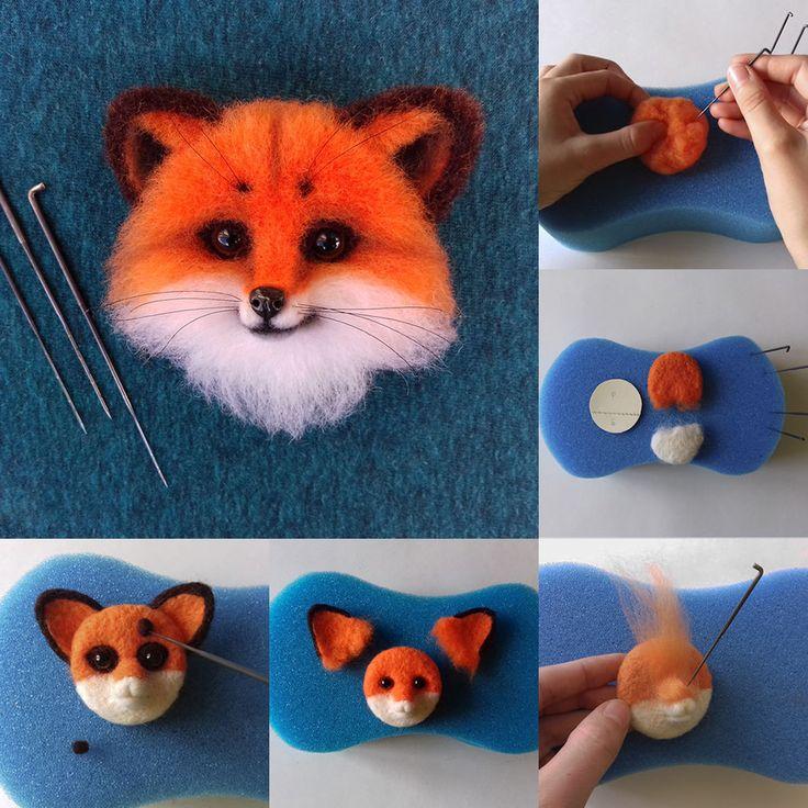 Needle felted brooch Fox tutorial