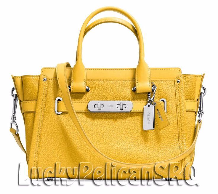 COACH 34816 Swagger 27 Satchel Bag Handbag Silver/Canary Yellow NWT #Coach #Satchel