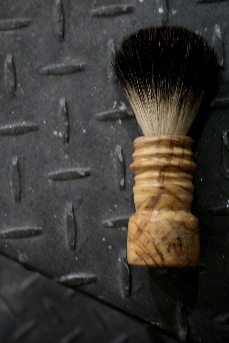 SHAVING BRUSH - PURE BLACK BADGER  & OLIVE WOOD HANDLE