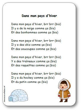 French winter nursery rhyme. Comptine Dans mon pays d'hiver