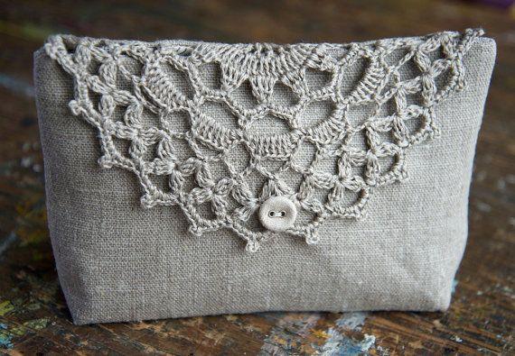 Linen bolsa de maquiagem bolsa bolsa clutch detalhe malha por namolio