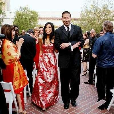 Lisa Ling and Paul Song - her wedding dress; right up there with Gwen Stefani's perfect confection