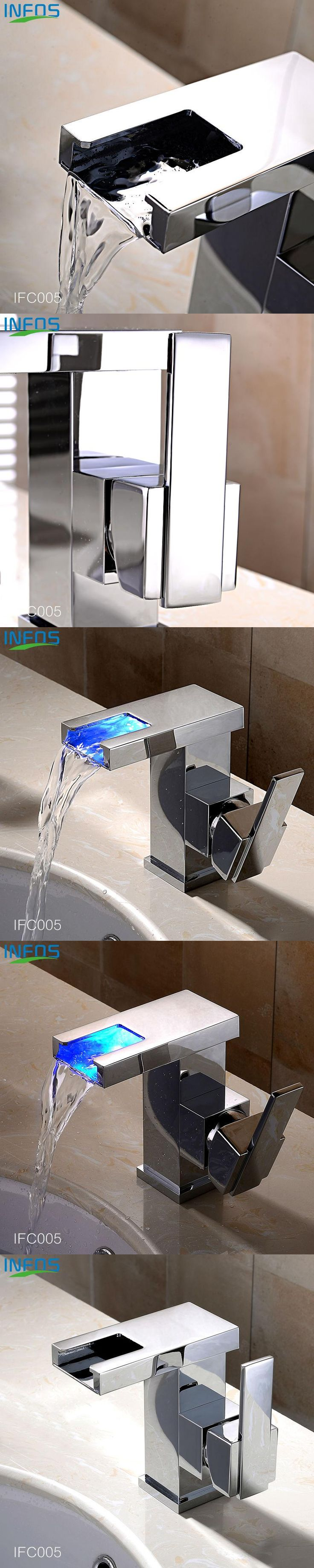 INFOS Bathroom LED Waterfall Water Tap Basin Faucet Kitchen Sink Tap Brass Tap Torneira Banheiro Basin Mixer Water Faucet IFC005