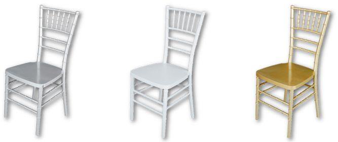 La silla Tiffany o Chiavari, es uno de los modelos más buscados para eventos especiales como bodas y comuniones. Disponible en colores oro, plata y blanco.