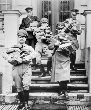 Nazi party members in confiscating books in Hamburg in 1933.