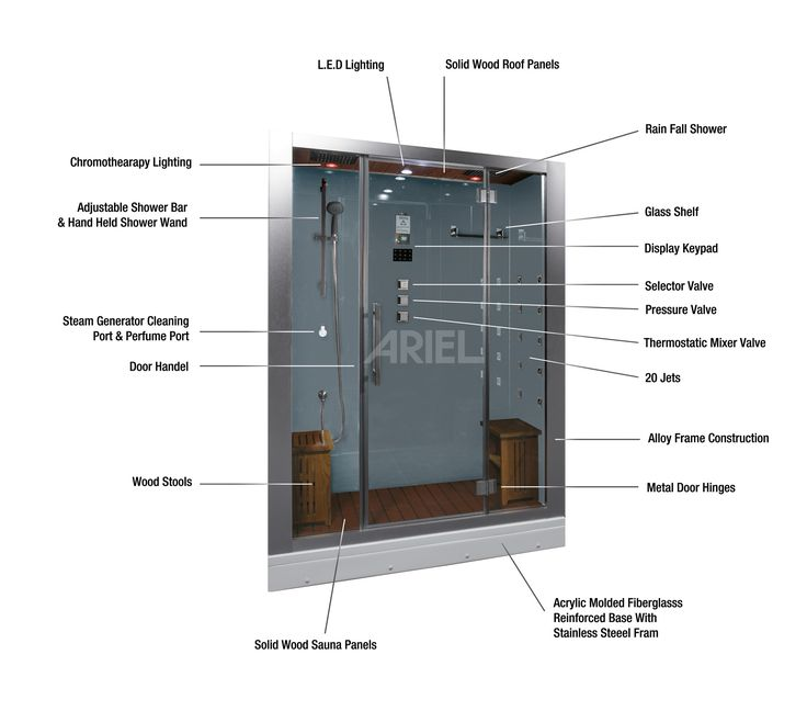 Ariel Platinum DZ972F8 steam shower unit is complete with a steam shower enclosure and built-in steam sauna generator. We offer a huge selection of steam shower units and offer free shipping nationwide with a modern style at an affordable price.