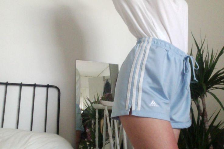 Baby blue adidas shorts
