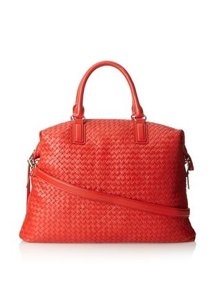 66% OFF Christopher Kon Women's Ellena Woven Satchel, Tomato, One Size