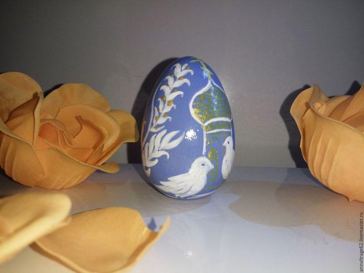 """Купить Яйцо пасхальное """" Голуби"""" - голубой, яйцо пасхальное, сувениры и подарки, яйцо голуби"""