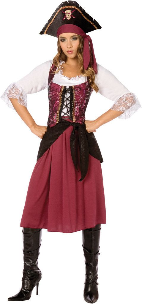 burgundy pirate wench adult costume - Modest Womens Halloween Costumes
