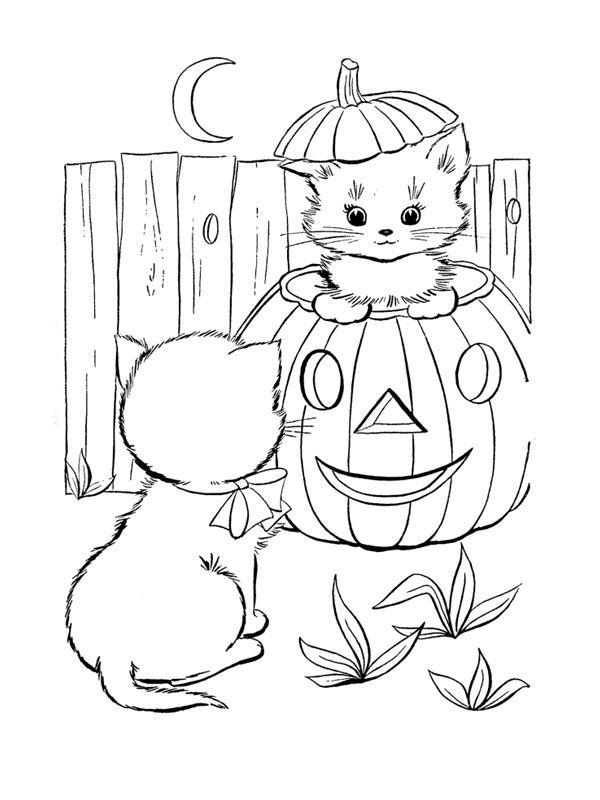 Les 228 meilleures images du tableau coloriage chat sur - Dessin chat halloween ...