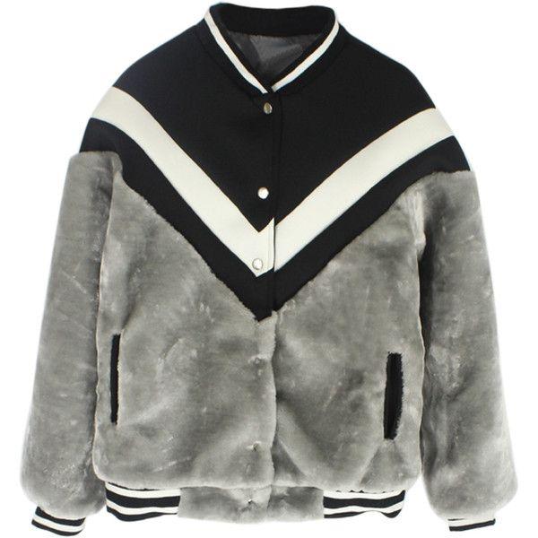 Choies Gray Long Sleeve Faux Fur Contrast Detail Baseball Coat (309585 PYG) ❤ liked on Polyvore featuring outerwear, coats, jackets, tops, coats & jackets, grey, baseball coat, grey faux fur coat, fake fur coats and grey coat