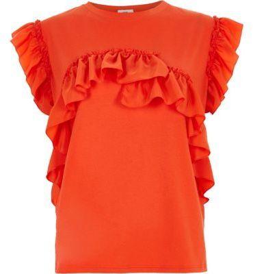 River Island Womens Orange frill T-shirt