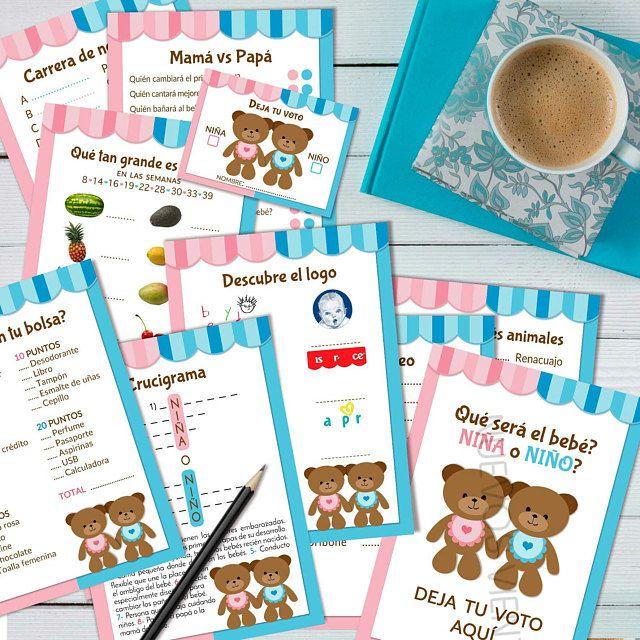 Teddy Bear Gender Reveal Spanish Printable Bundle X 10 Games Etsy Gender Reveal Games Gender Reveal Party Games Baby Gender Reveal