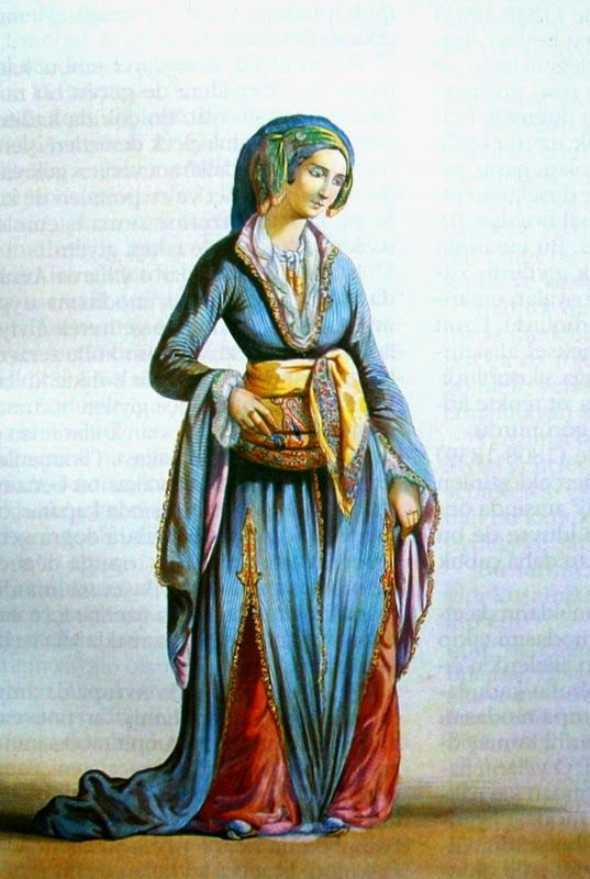 'A well-to-do lady from Istanbul' by Camille Rogier (1810-1896).  Late-Ottoman indoors clothing, ca. 1850.