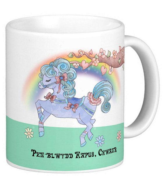 Welsh Sister Birthday Gift Mug With Carousel Horse, Cwaer, choice of mug shapes