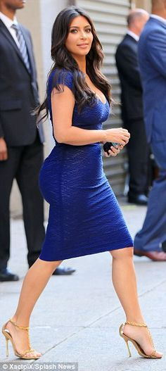 Blue dress kim kardashian 1st