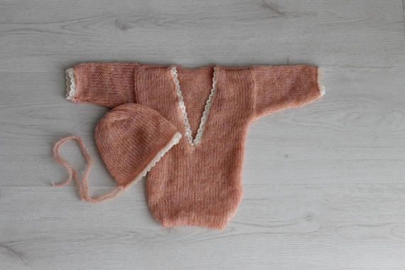Ready to ship Knit mohair bonnet and onesie Long sleeve