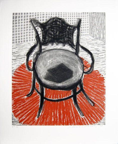 David Hockney, Chair with Book on Red Carpet on ArtStack #david-hockney #art
