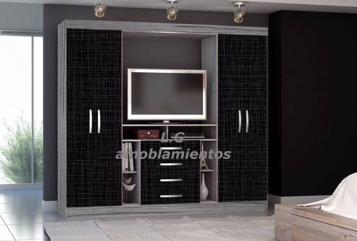 Placard ropero 4 puertas espacio para tv y cajones lo for Closet con espacio para tv