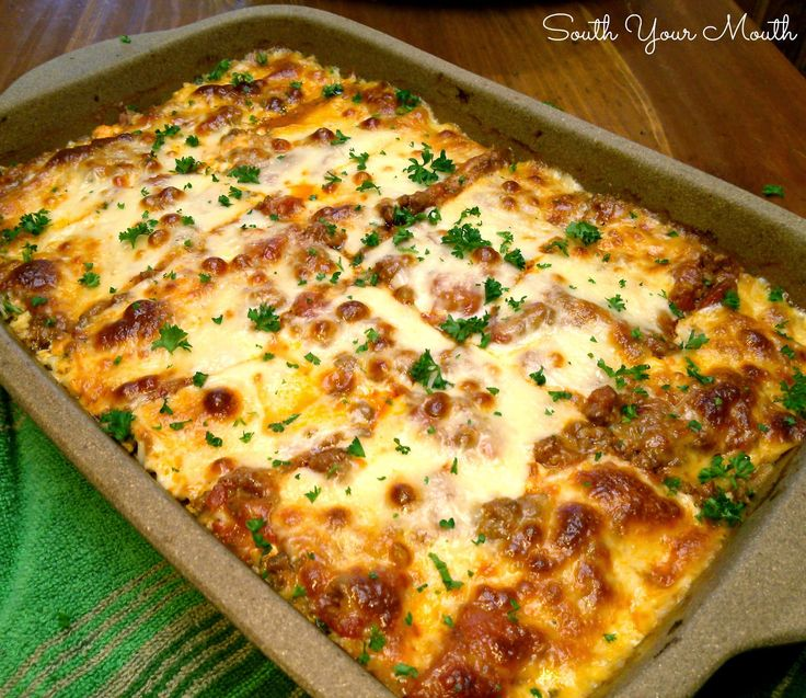 "The Country Cook: South Your Mouth Lasagna My basic go to recipe as well, almost identical. For ""Dillons lasagne"", I follow all the steps except for the ricotta mixture. He hates it. I usually after another layer of meat and cheese to beef it up...LOL!, pun not intended. Asw"