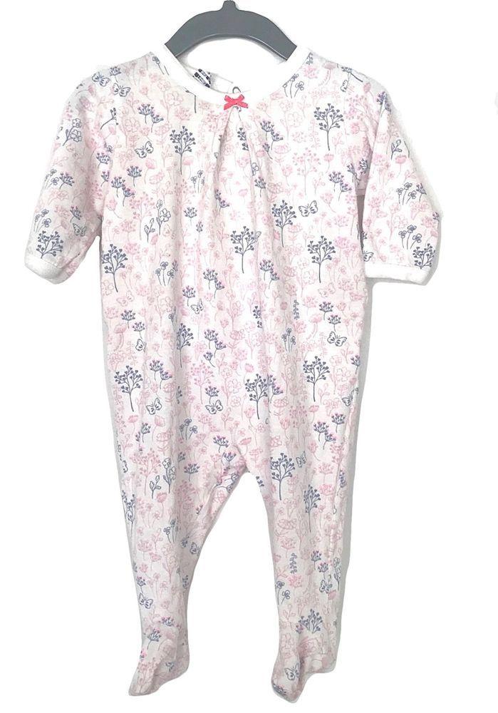 633c4bead85c PETIT BATEAU Baby Girl White Pink Purple Newborn Sleeper Outfit 0 ...