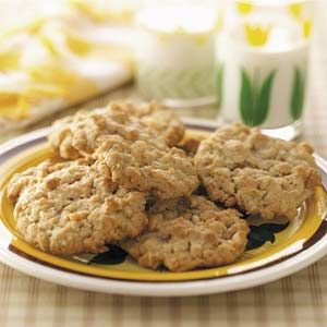 Ranger Cookies Recipe -These golden brown cookies are crispy on the outside and cake-like on the inside. Their tasty blend of oats, rice cereal, coconut and brown sugar have made them a favorite with our family. You won't be able to eat just one—Mary Lou Boyce,Wilmington, Delaware