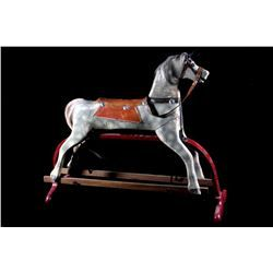 Early Child's Carved Wooden Rocking Horse