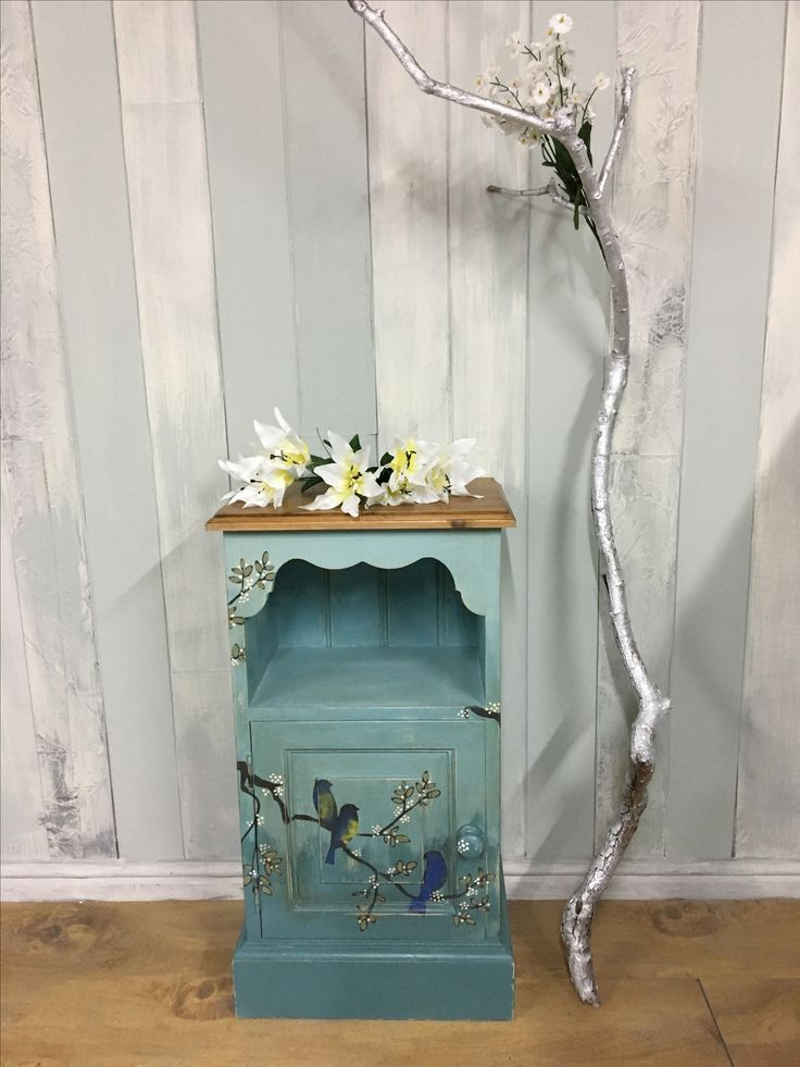Hand painted cupboard, refinished with Annie Sloan Chalk Paint, with stencilled and embellished birds, and sealed and aged with Annie's clear and dark waxes.