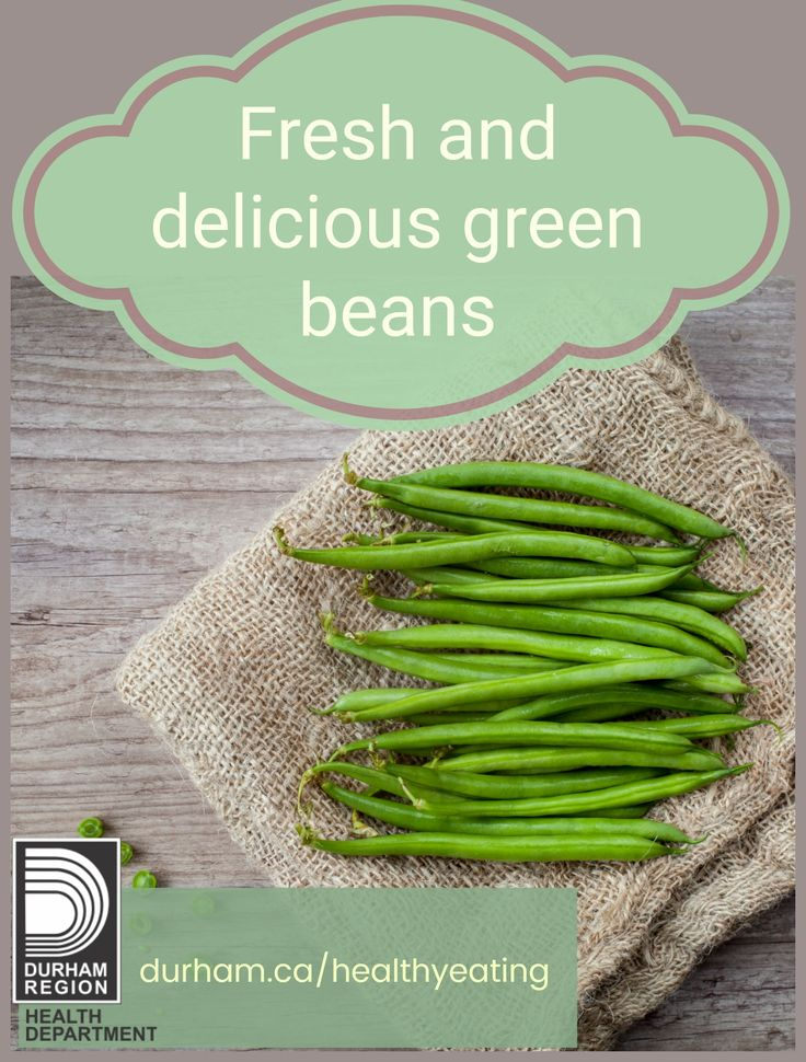 Green beans in Durham Region are in season from the beginning of July until the end of August. Eating more vegetables and fruit can decrease your risk for diabetes, heart disease, cancers, high blood pressure and stroke.
