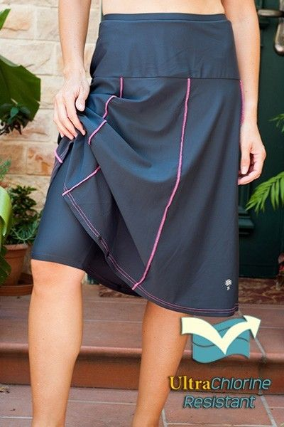 "Waters Edge Hip Hiding Drop Waist Long Swim Skirt (27"" long) - that's right, this is a knee length swim skirt with built-in shorts"