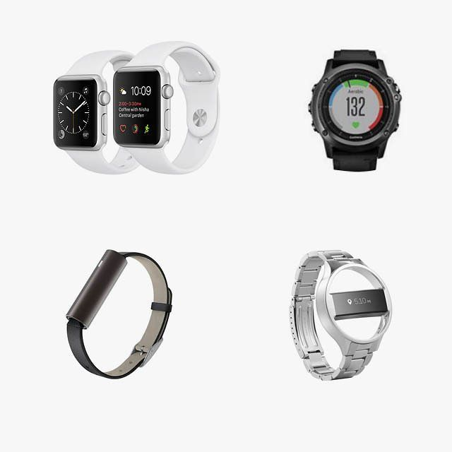 Apple Watch silver aluminum case with white sport band, $269, apple.com; Garmin Fēnix 3 hr multisport GPS watch, $650, swimoutlet.com; Public School x Fitbit Alta, $295, fitbit.com; Misfit Ray Fitness and Sleep Tracker, $100, lordandtaylor.com