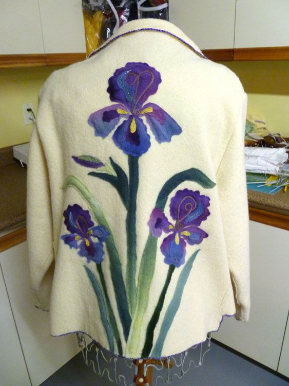 Tumblr - back view wool flannel applique felted into vintage woolen jacket by dawn