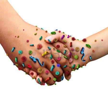 вирус: Инфекционные болезни распространяются гигиены понятие, как люди, взявшись за руки с вирусом зародышей и бактерий, распространяющихся с болезнью в общественность в концепции риска здравоохранения не мойте руки, как грязный зараженные пальцы и ладонь с инфекционными возбудителями.