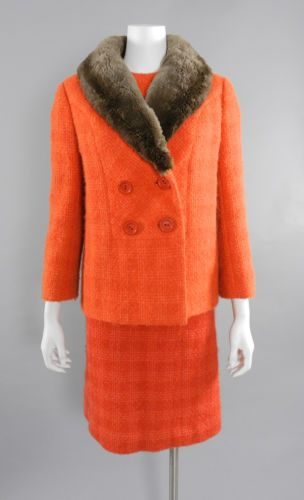 Vintage-Couture-early-1960-039-s-Norman-Hartnell-Orange-Wool-Dress-and-Jacket-Suit