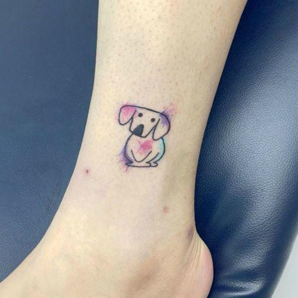 Little watercolor dog tattoo