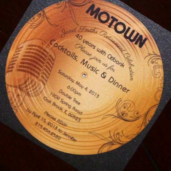 motown wedding theme | Gold Record Motown Retirement Invitation | Too Chic & Little Shab ...