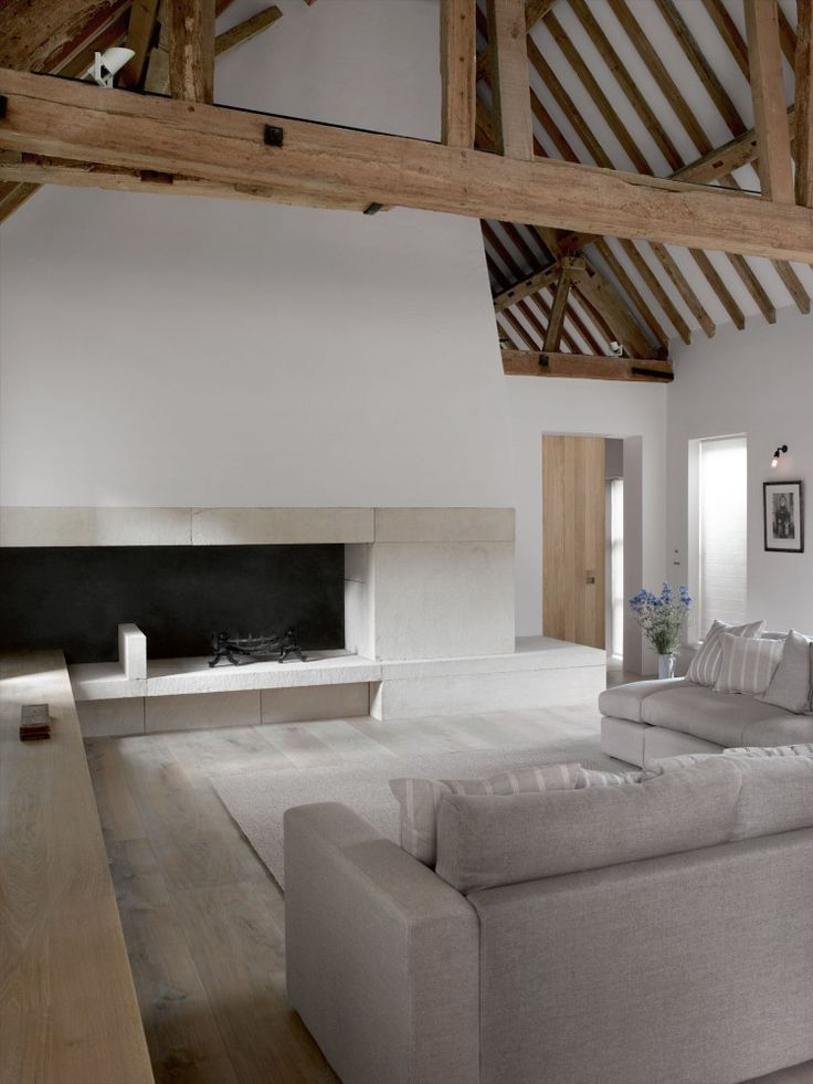 clean contemporary barn conversion | white crisp walls against palest oak beams || McLaren.Excell