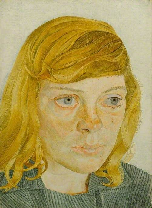 Girl in a Green Dress by Lucian Freud Arts Council Collection Date painted: 1954 Tempera on board, 32.5 x 23.6 cm Collection: Arts Council Collection