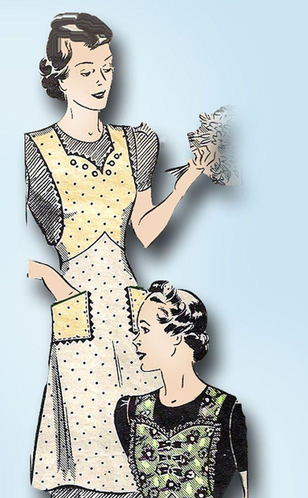 1930s Vintage Marian Martin Sewing Pattern 9911 Misses Farm Kitchen Apron Sz MED #MarianMartin #ApronPattern