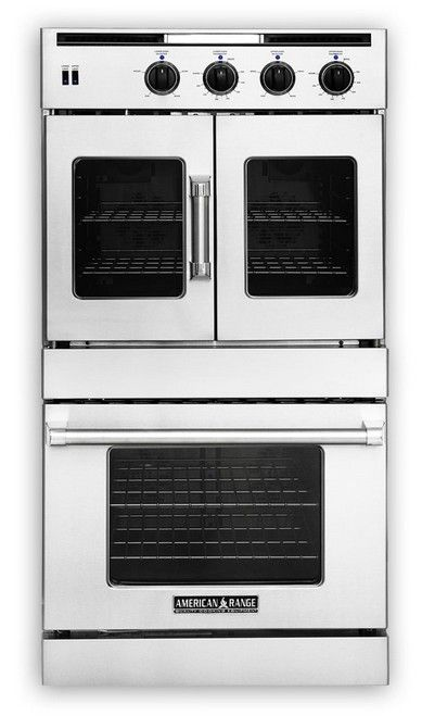 "AROFSG-230N American Range 30"" Legacy French Door Top / Chef Door Bottom Gas Double Wall Oven - Natural Gas - Stainless Steel"