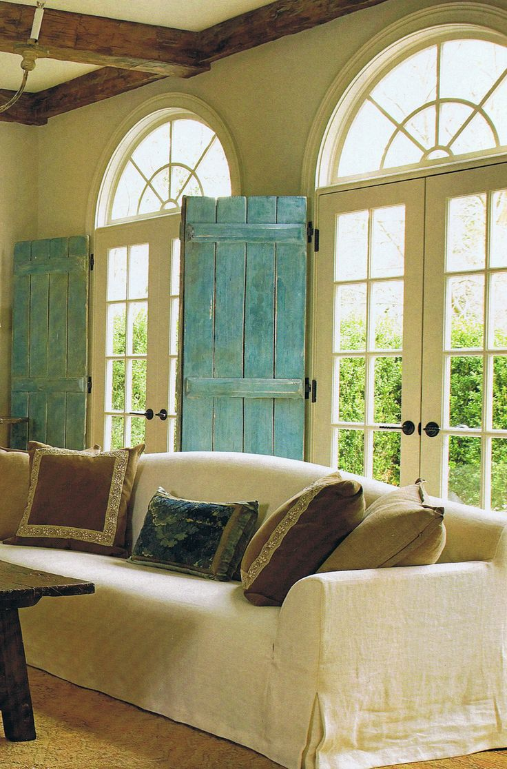 Rustic Interior Shutters. See More. Blue Shutters House Beautiful