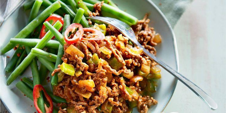 Boodschappen - Gehaktgoulash met rijst en boontjes