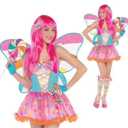 sexy Candy cane lollypop fairy wings princess katy perry Fancy Dress Costume  £14.21