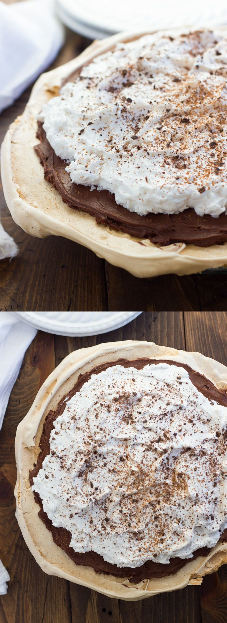 Chocolate Angel Pie! A crisp meringue crust filled with chocolate-truffle-like filling, then topped with pillowy whipped cream. Gluten-free, dairy-free and made with pantry ingredients.
