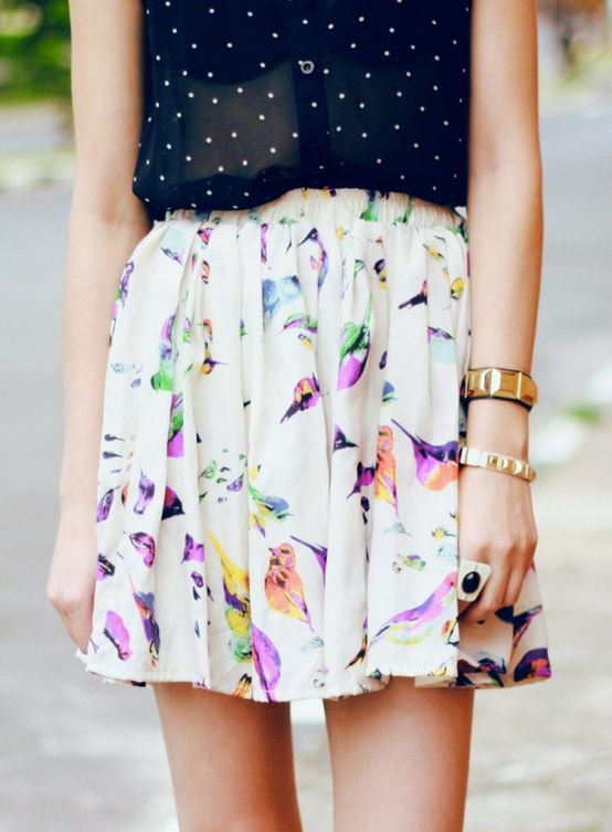 "Do: mix romantic florals with polka dots to achieve a less ""girly girl"" look."
